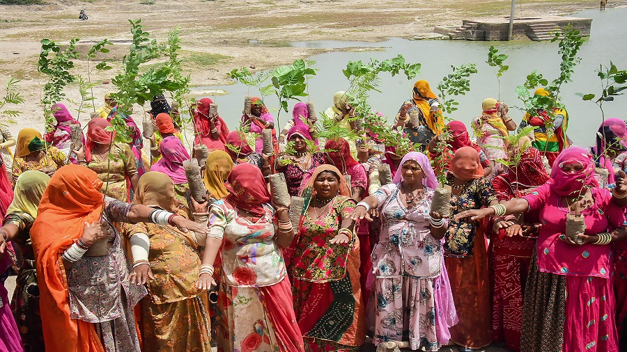 Women working under MNREGA scheme hold plants gifted to them as they take an oath to take care of them, on the occasion of Amavasya on the third Monday of the Hindu Sawan month, amid the ongoing COVID-19 lockdown, in Jodhpur, Monday, July 20, 2020.