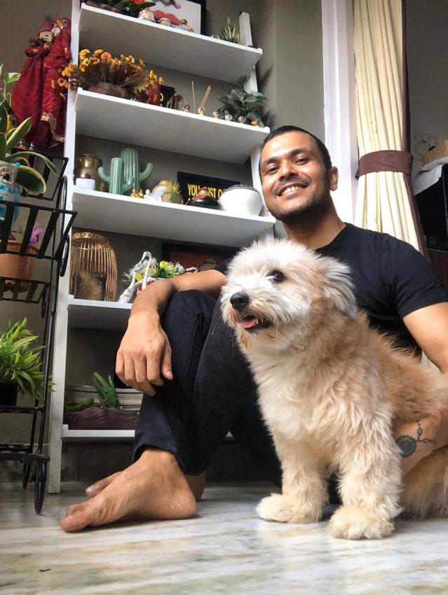 Mainak with pet Lolo