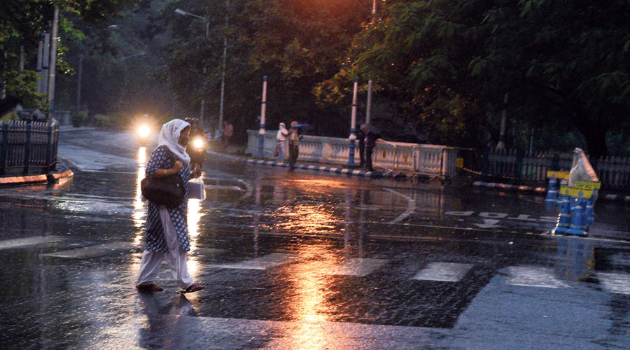 A rain-soaked Outram Road on Tuesday evening.