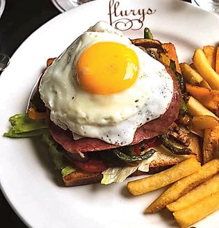 Open Swiss sandwich from Flurys