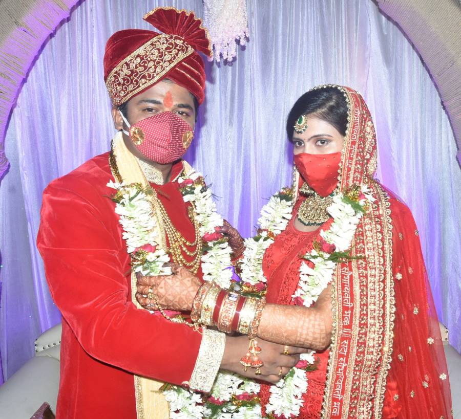 Bollywood singer Abhishek Mishra of Indian Idol fame, along with his wife Simran Anand during their marriage ceremony in Dhanbad on 10th June this year