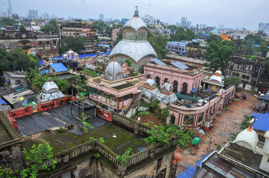 Kalighat Kali temple wears a deserted look after the West Bengal government announced complete lockdown across the state for two days every week, to curb the spread of coronavirus disease, in Calcutta, Thursday, July 23, 2020