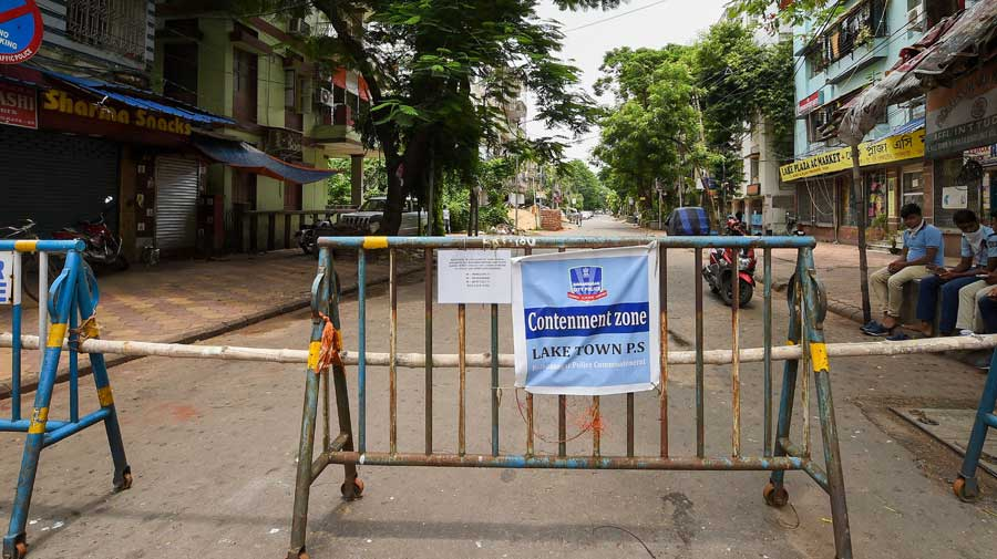 Barricades set up outside a locality, identified as a Covid-19 containment zone, in Calcutta on Monday.