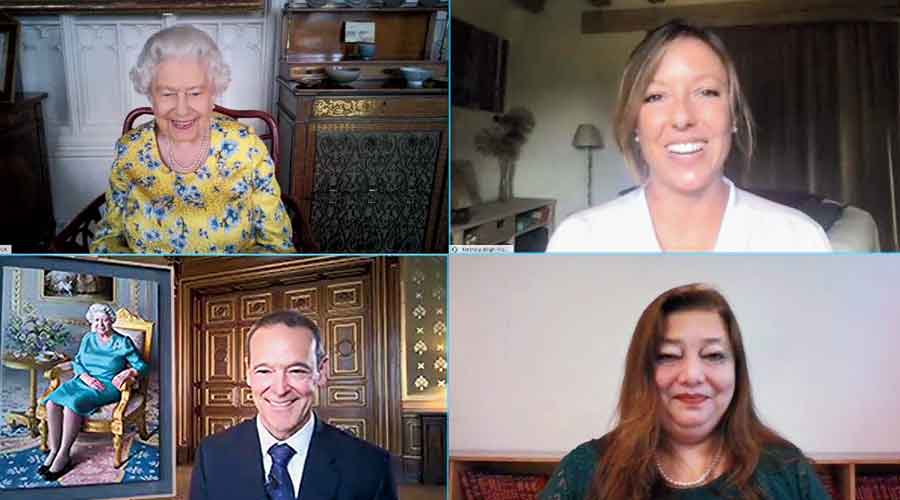 A screenshot of the virtual session shows (clockwise from top left) Queen Elizabeth II, Aletheia Bligh-Flower, Sanjibita McDonald Tariang Sen, Simon McDonald and the portrait of the Queen that was unveiled on Friday.
