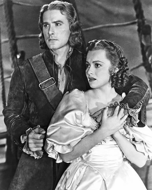 Olivia de Havilland with Errol Flynn in Captain Blood