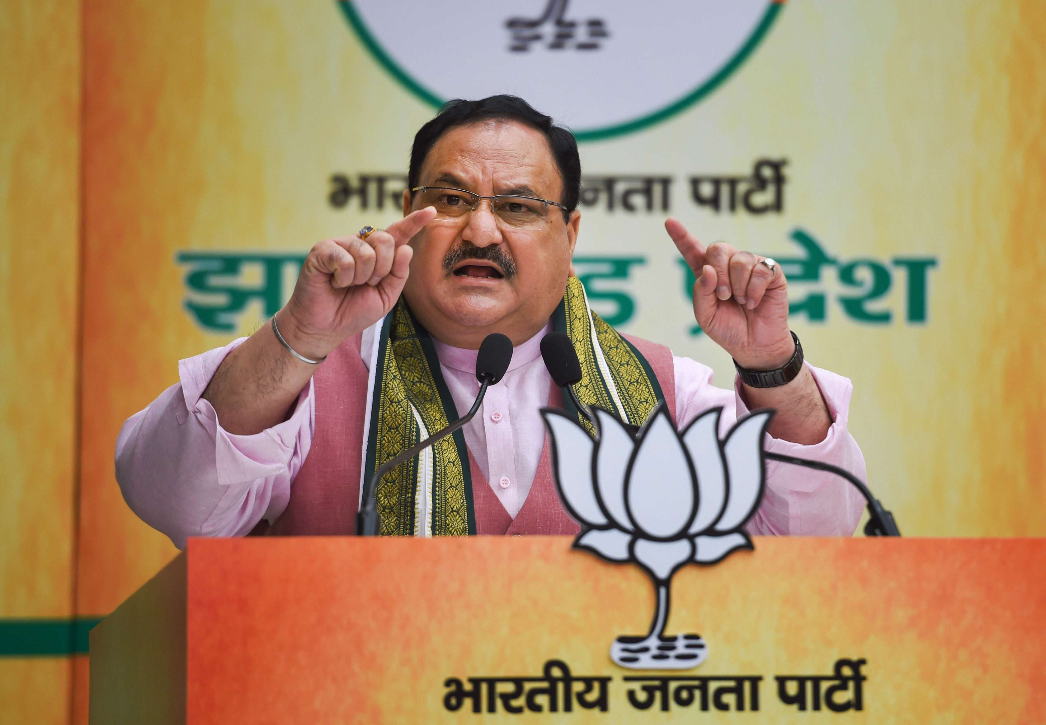 BJP chief J.P. Nadda during an event to inaugurate party's 8 district offices in Jharkhand, at BJP HQ in New Delhi, Tuesday, July 28, 2020.