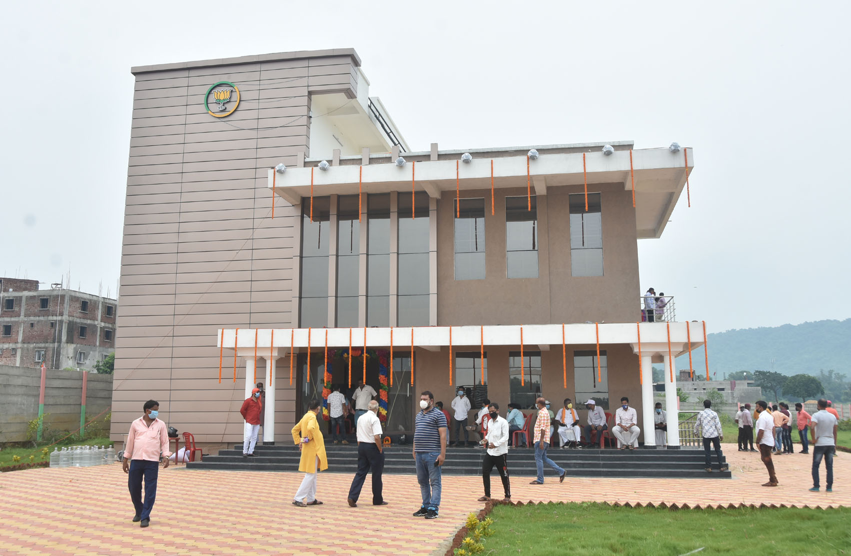 The new BJP office at Baliapur Road that was inaugurated in Dhanbad on Tuesday