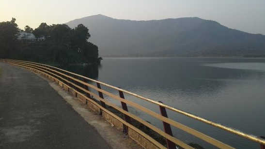The spot from where 38-year-old Murari Maity's body was seen floating in Dimna Lake on Tuesday.