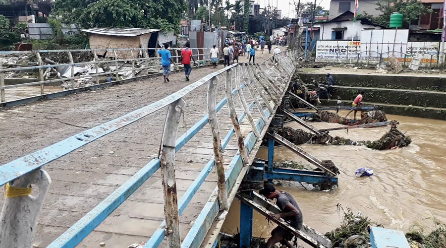 The bridge damaged by the Panchnoi stream in Siliguri.