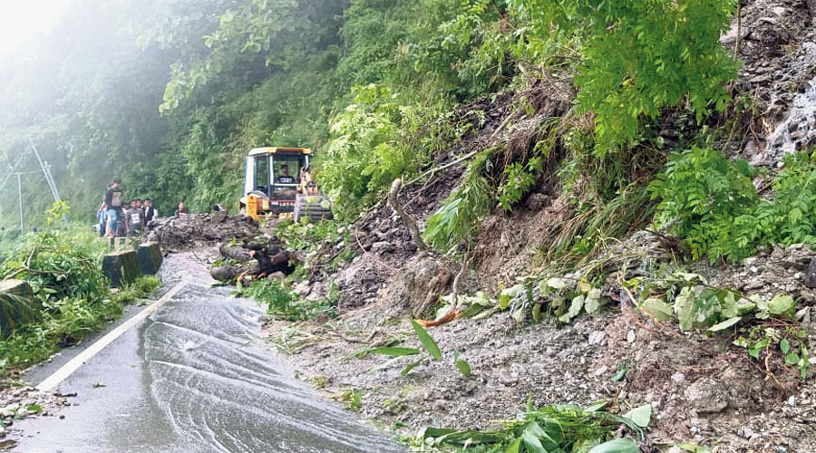 A landslide on Pankhabari road, which connects Kurseong with Siliguri, on Tuesday