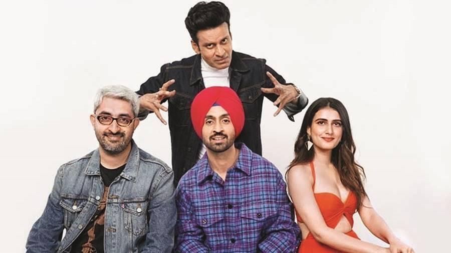 Abhishek Sharma with Manoj Bajpayee, Diljit Dosanjh and Fatima Sana Shaikh, who star in his next film Suraj Pe Mangal Bhari