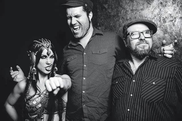 Beats Antique from California comprises (l-r) Zoe Jakes, David Satori and Sidecar Tommy
