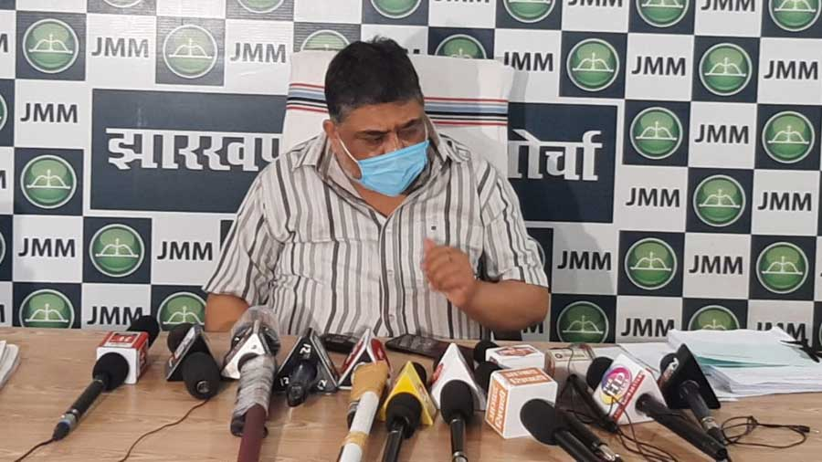 JMM general secretary Supriyo Bhattacharya talking to the media at the party office in Ranchi on Wednesday