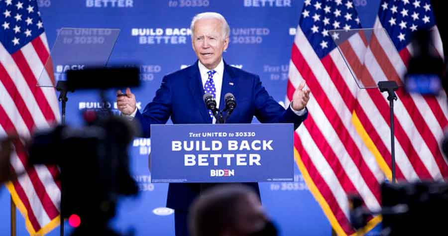 Former Vice President Joe Biden speaks at a campaign event at the William