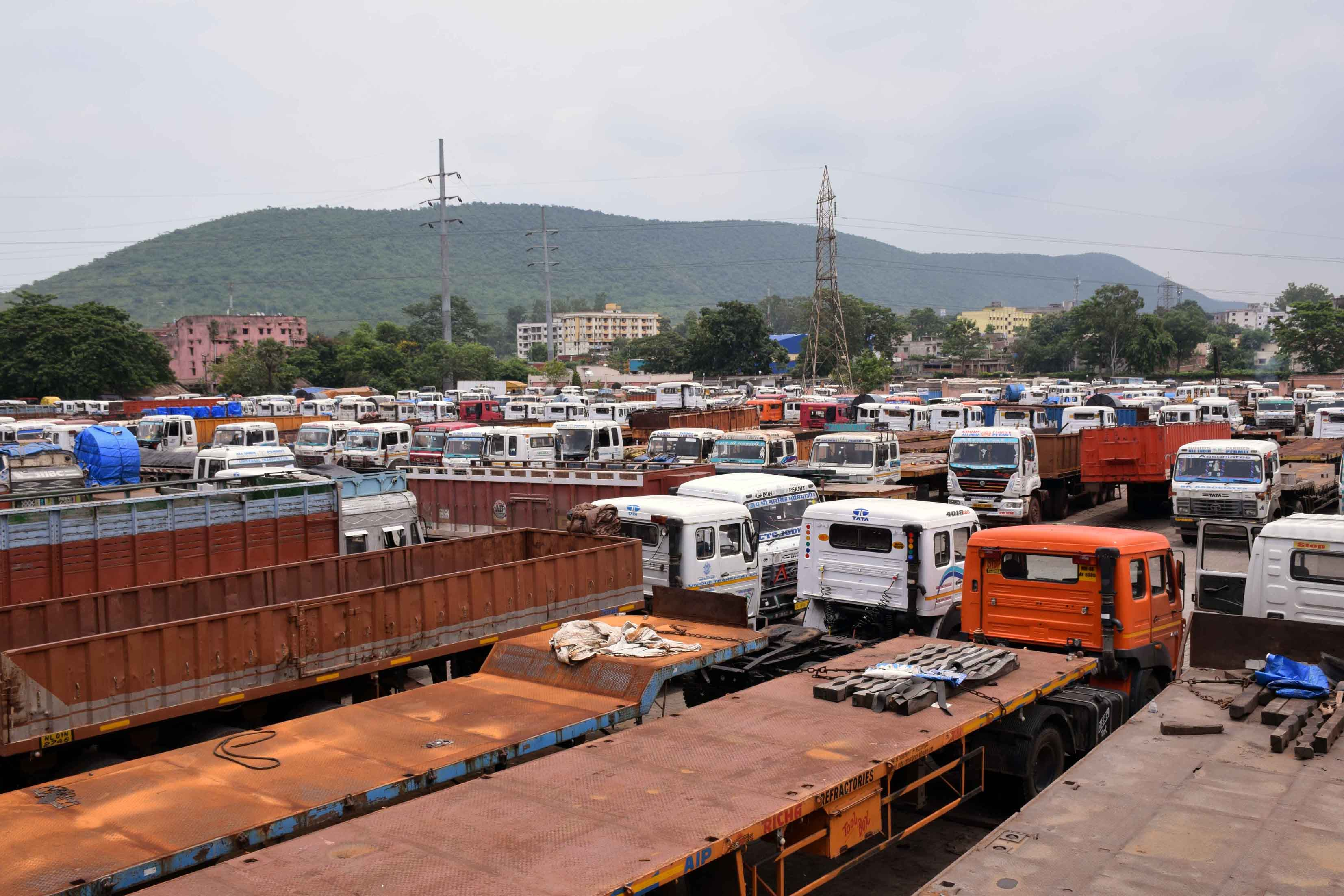 Trucks and trailers parked at the Transport Nagar in Mango on Thursday