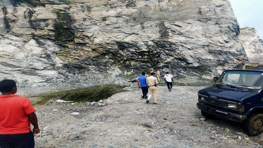 The stone quarry on the outskirts of Ranchi, where an ASI was found dead on Friday morning