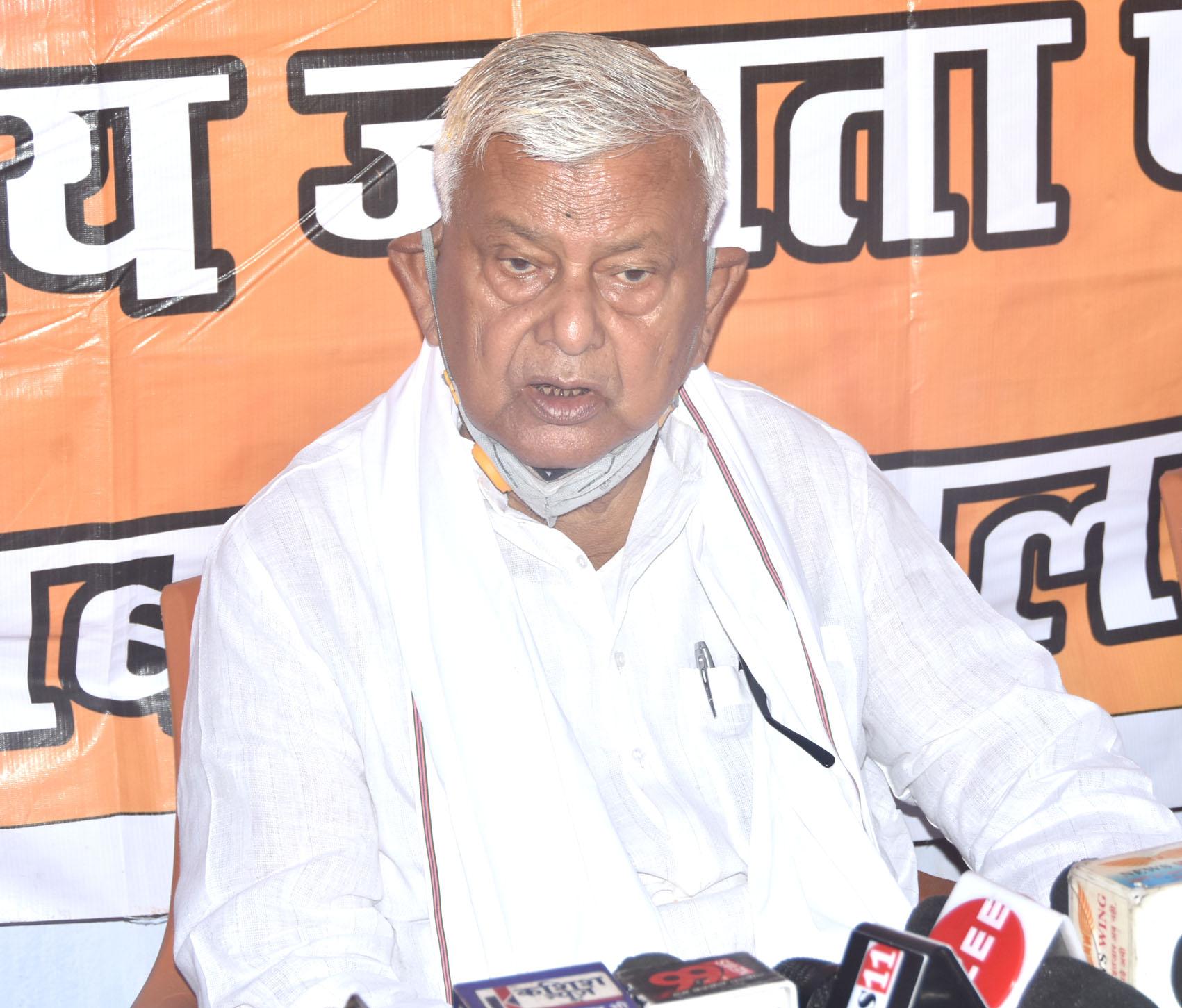 Dhandbad MP P.N. Singh speaks at the district  BJP office in Dhanbad on Monday, June 22, 2020