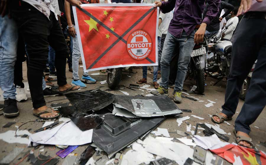 Call to boycott Chinese goods had led to public demonstrations of TV sets being broken in Gujarat.