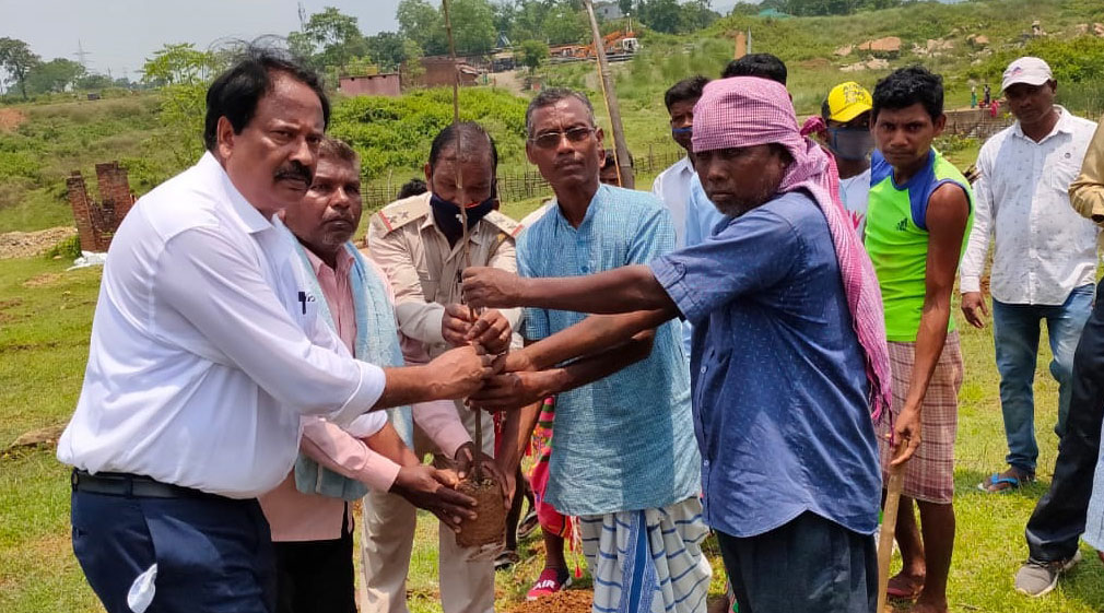 Dalma range officer Dinesh Chandra (in white shirt) hands over a sapling to villagers at Saherbera on Tuesday.