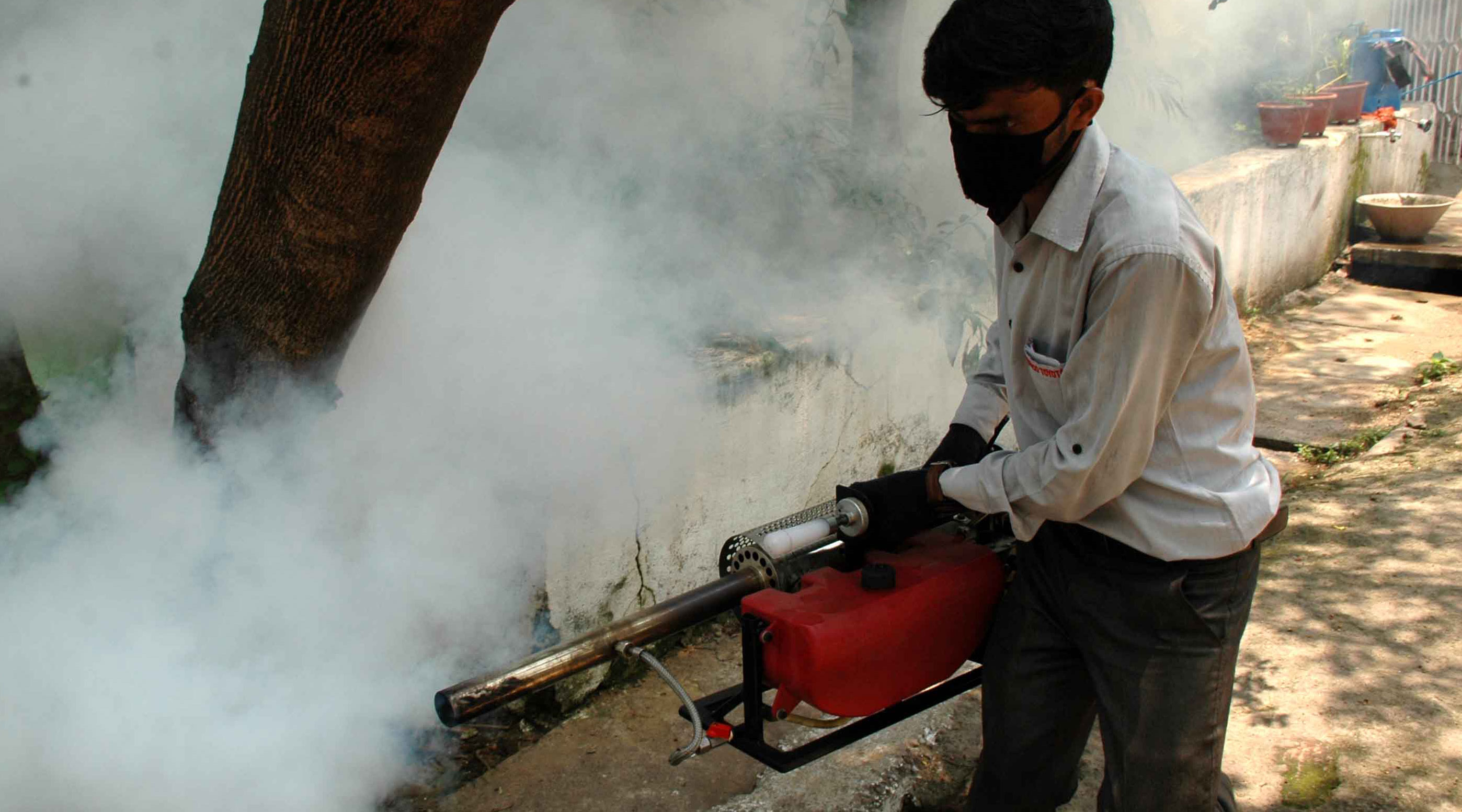 Personnel engaged by the district malaria department using fogging machines at Sakchi in Jamshedpur, earlier in June.