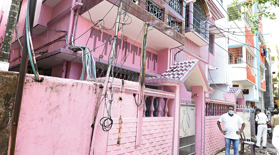 The house in Kestopur where the fire broke out on Sunday morning, resulting in the death of astrologer Jayanta Shastri.