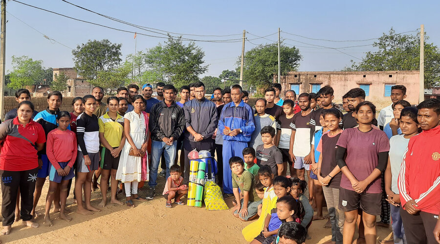 BCCL officer, Dev Kumar Verma with the sports material along with the training institute players and Mahavir Prasad Mahato in Dhanbad today