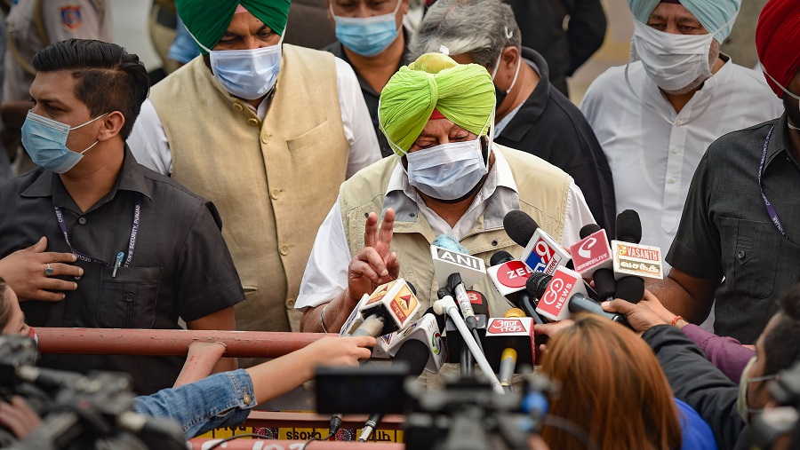 Punjab Chief Minister Capt. Amarinder Singh along with other leaders participates in a protest against the recent farm reform bills, at Jantar Mantar in New Delhi on Wednesday