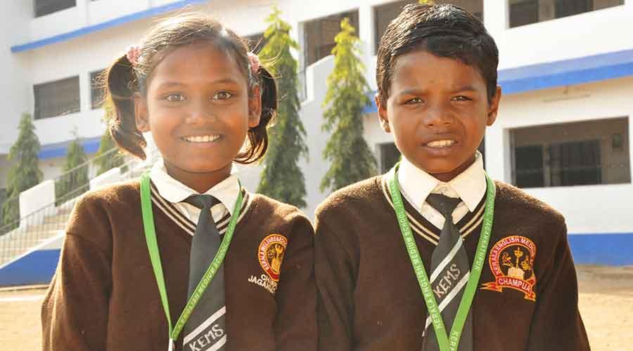 Students of Kerala English Medium School in West Singhbhum.