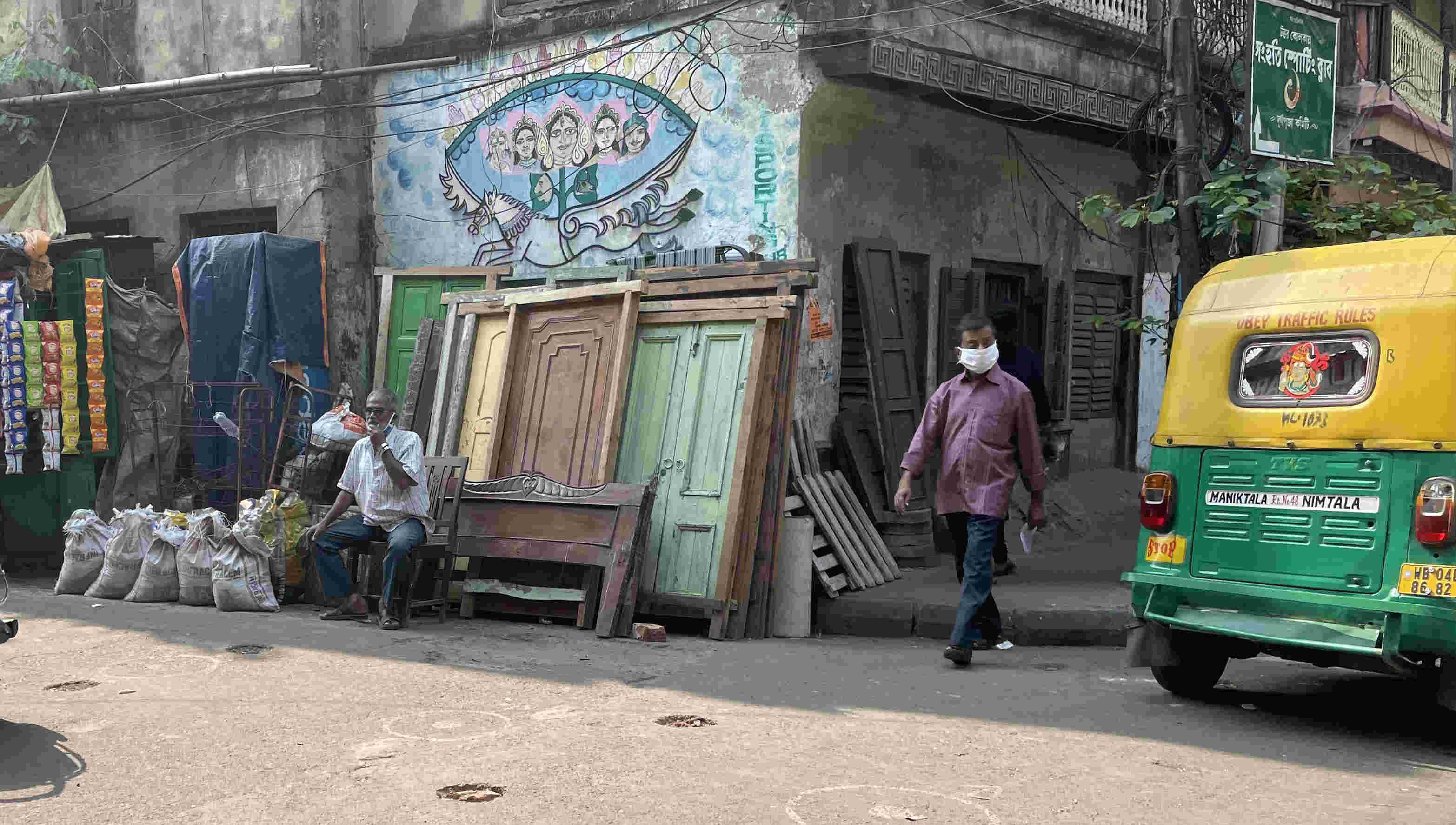 Calcutta is a city where change is constant. A glimpse of old door frames being sold.