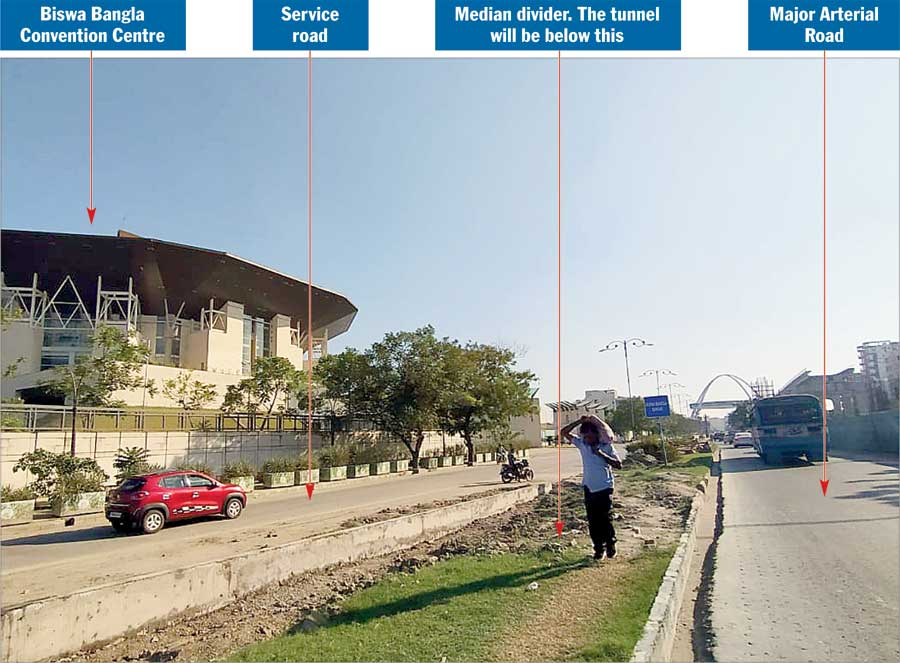A stretch in New Town below which the utility corridor will be constructed. The tunnel will run below the median  divider that separates the Major Arterial Road from the service road in front of Biswa Bangla Convention Centre. The township will have a network of such underground channels that will be at least 6feet high and wide enough  to accommodate at least three men standing side by side. Inside such a channel space will be allocated to different  utilities and their lines will be colour-coded so that repair crew can identify them quickly