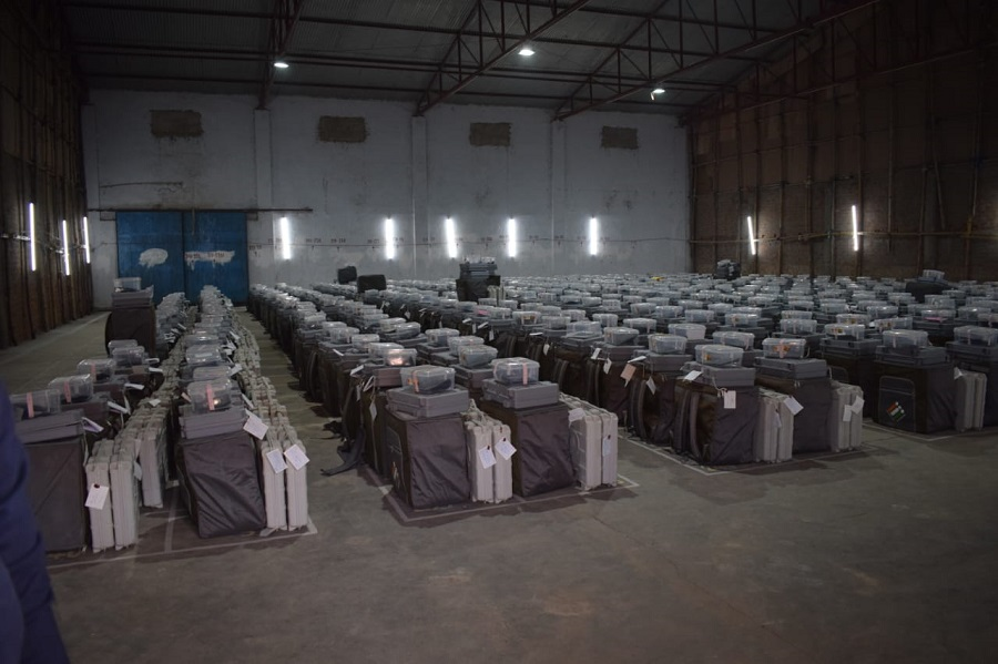 A view of the EVM machines, kept in a strong room before counting