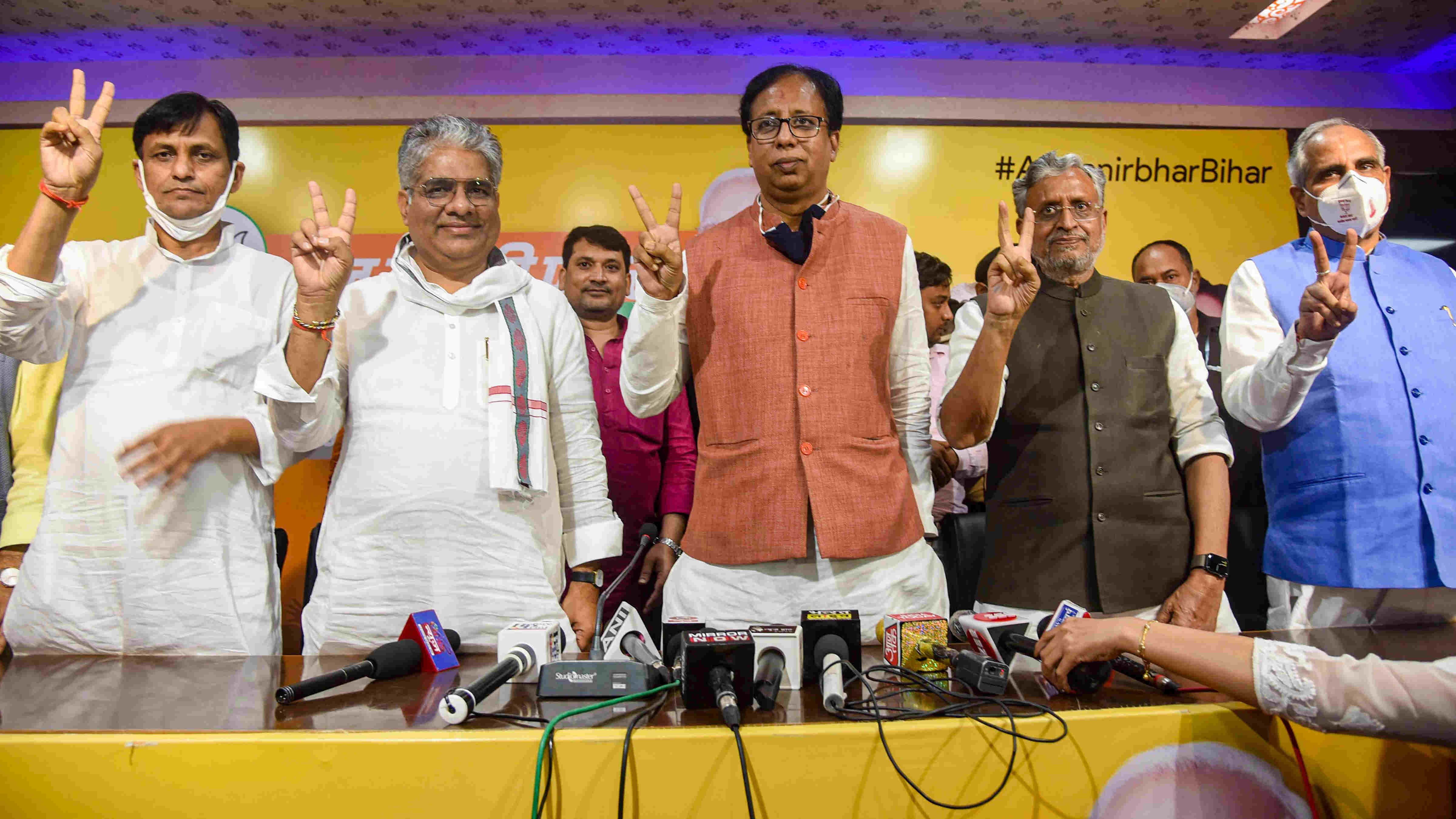 Bihar Deputy CM Sushil Kumar Modi, BJP Bihar in-charge Bhupendra Yadav, BJP Bihar President Sanjay Jaiswal and MoS Nityanand Rai flash victory sign during a press conference following NDAs lead during the counting of votes for the Bihar Assembly Elections results, in Patna, Tuesday, Nov 10, 2020.