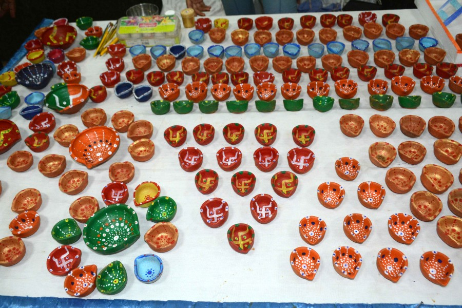 Designer diyas up for sale at the Diwali Mela organised at Chamber Bhawan in Jamshedpur's Bistupur