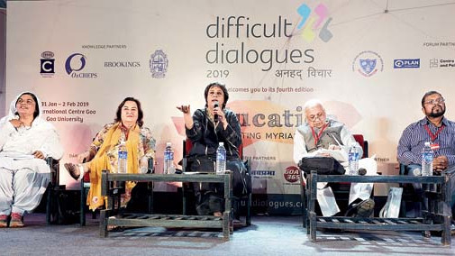 (Left to right) Advisor of health and education Neelam Kaur, lawyer Pinki Anand, journalist Barkha Dutt, governor of Kerala Arif Mohammad Khan and director of Goa Institute of Counseling Clifford W. DeSilva.