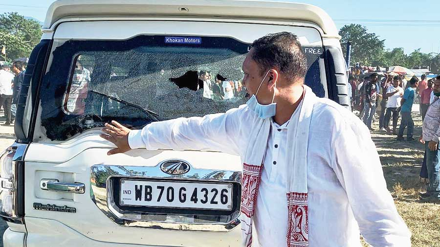 One of the damaged SUVs in the convoy of Dilip Ghosh.