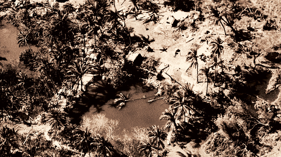 An aerial view of the devastation wrought on a village in East Pakistan by Cyclone Bhola in 1970.