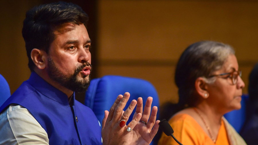 Union Finance Minister Nirmala Sitharaman and Minister of State Anurag Thakur ((L) during a news conference in New Delhi, Thursday, Nov 12, 2020.