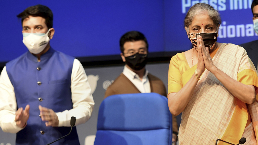 Union Finance Minister Nirmala Sitharaman and Minister of State Anurag Thakur during a news conference in New Delhi, Thursday, Nov 12, 2020.