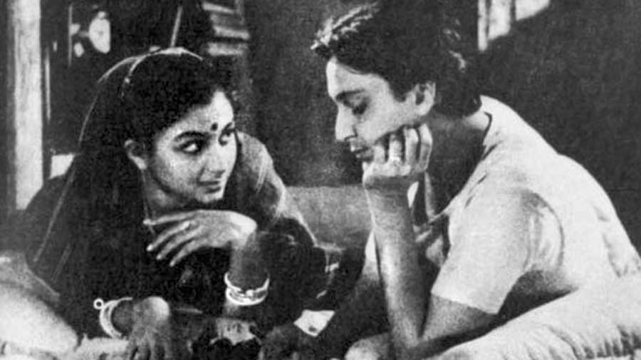 With Sharmila Tagore in Apur Sansar, the debut film of both actors