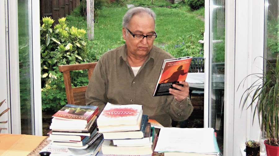 Soumitra Chatterjee soaks in a fine spring day in London in April 2009, amid cherry blossoms and magnolia in full bloom.