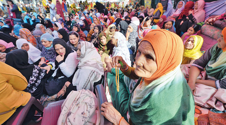 Demonstrators protest against CAA  and NRC at Shaheen Bagh in New Delhi in February