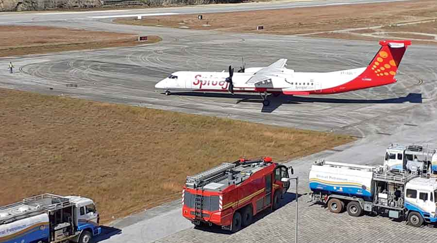 The SpiceJet plane at the Pakyong airport on Tuesday