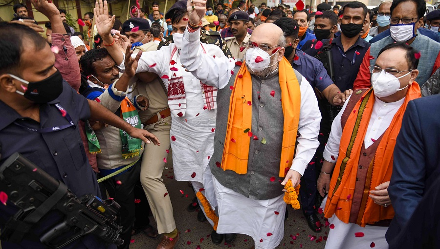 Amit Shah and JP Nadda in Patna for Nitish Kumar's swearing in ceremony two days ago.