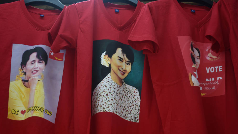 T-Shirts with the picture of Myanmar political leader Aung San Suu Kyi, September 2020.