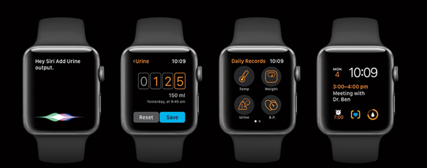 The proposed hands-free Apple Watch interface of the Transplant Care app.