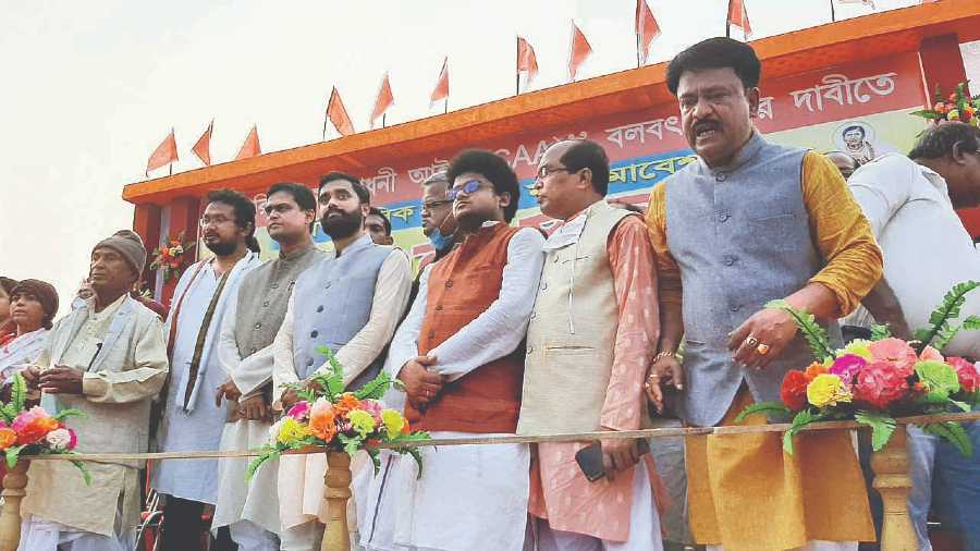 Bongaon MP Santanu Thakur (third from left, in light brown jacket), along with other leaders of the All India Matua Mahasangha at the in Bogula on Thursday.