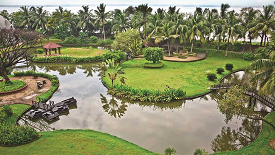 View of the lush greenery and the Ganges from the room.