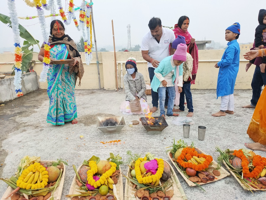 Devotees of Lord Sun offer sunrise Aargha during Chhath Puja festival on Saturday.