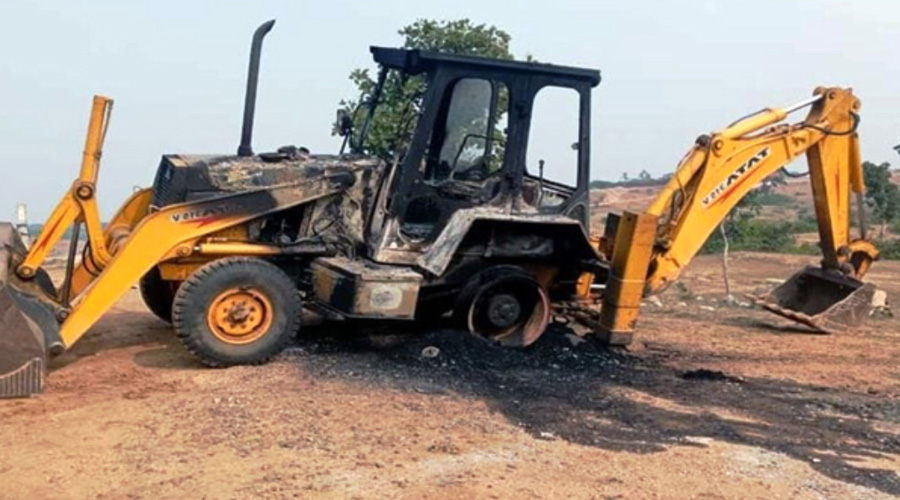Earthmovers torched by naxals in Giridih on Friday night.