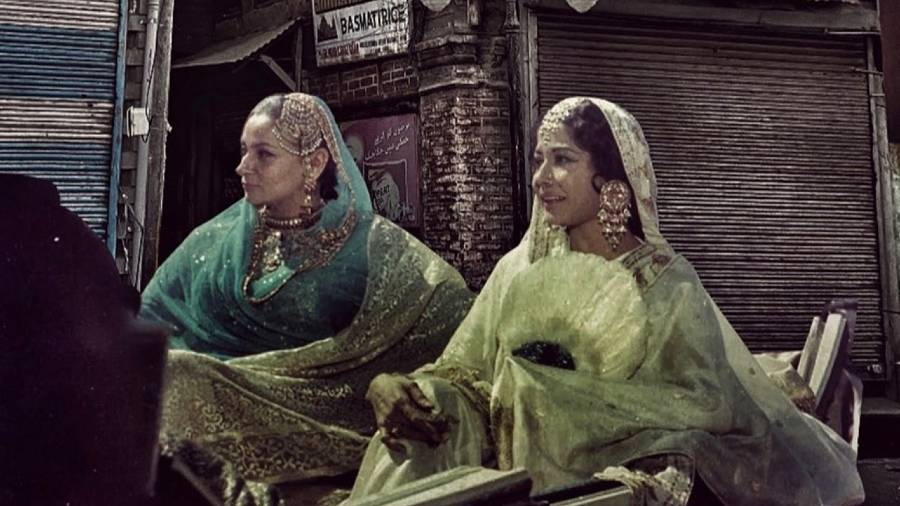 A still from Pakeezah juxtaposed on an image of downtown Srinagar